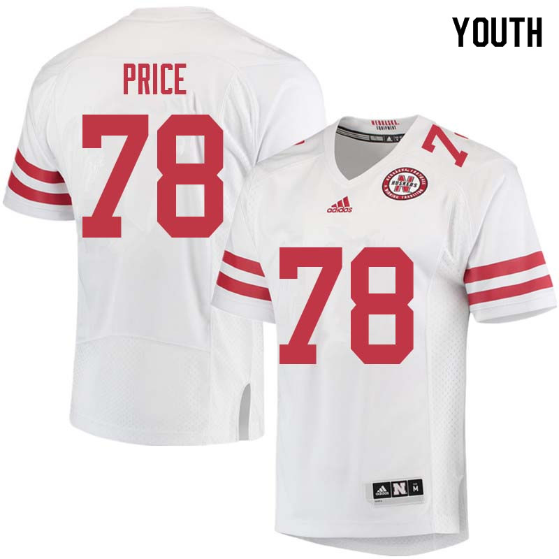 Youth #78 Givens Price Nebraska Cornhuskers College Football Jerseys Sale-White