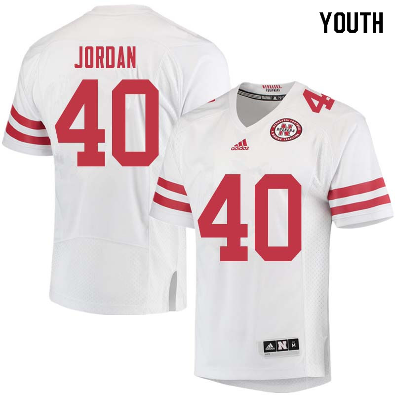 Youth #40 Grant Jordan Nebraska Cornhuskers College Football Jerseys Sale-White