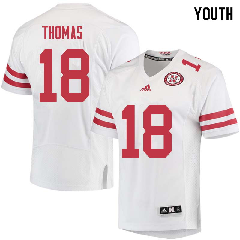 Youth #18 Guy Thomas Nebraska Cornhuskers College Football Jerseys Sale-White