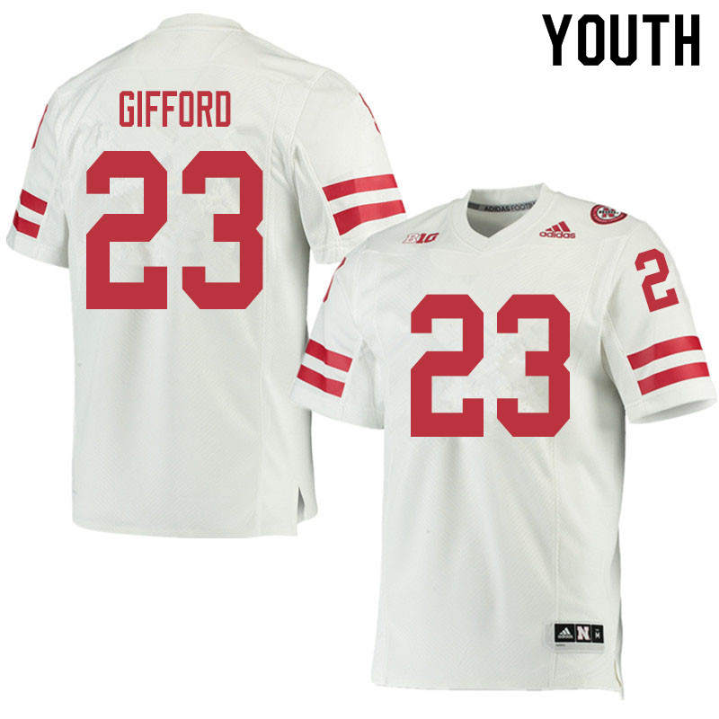 Youth #23 Isaac Gifford Nebraska Cornhuskers College Football Jerseys Sale-White
