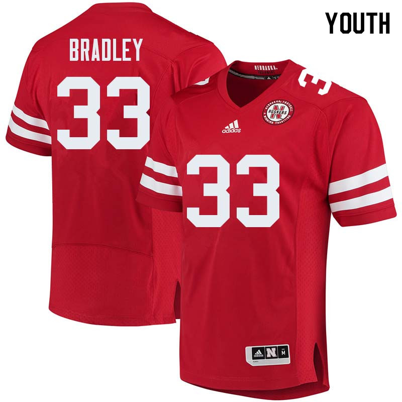 Youth #33 Jaylin Bradley Nebraska Cornhuskers College Football Jerseys Sale-Red