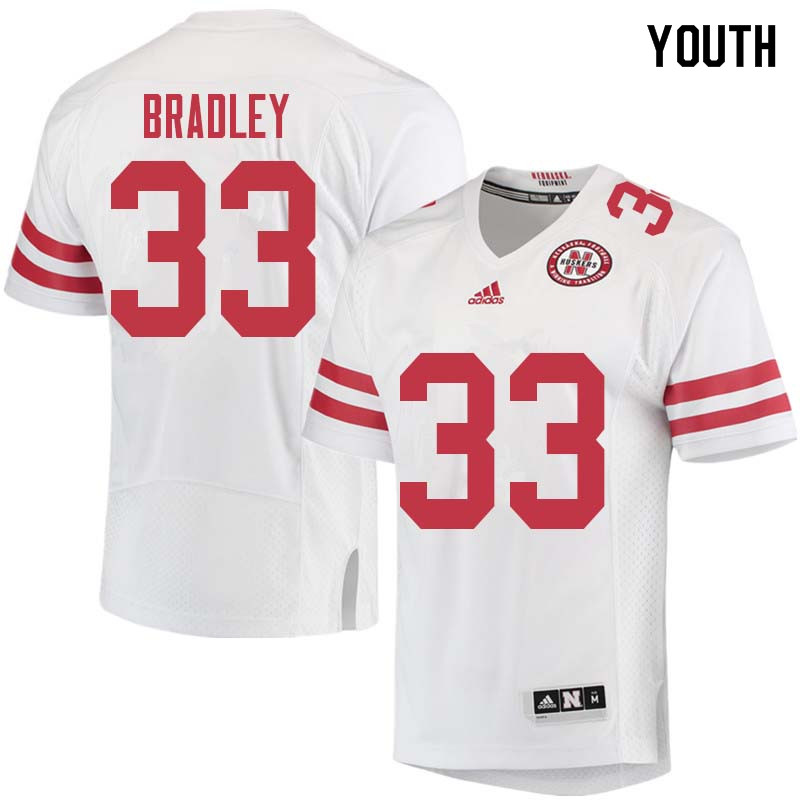 Youth #33 Jaylin Bradley Nebraska Cornhuskers College Football Jerseys Sale-White