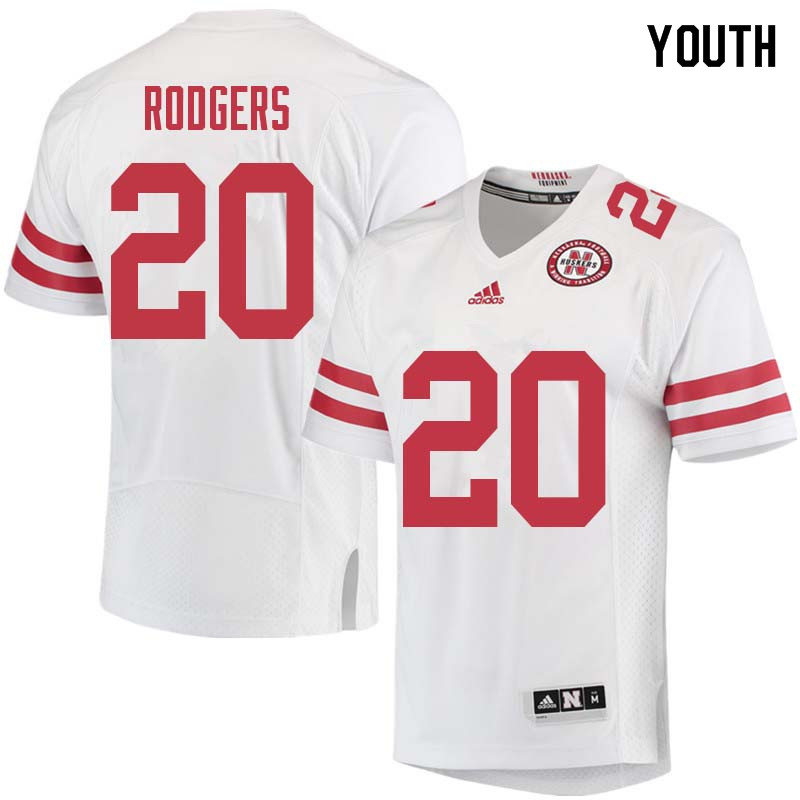 Youth #20 Johnny Rodgers Nebraska Cornhuskers College Football Jerseys Sale-White
