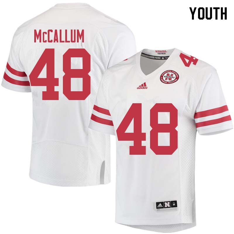 Youth #48 Lane McCallum Nebraska Cornhuskers College Football Jerseys Sale-White