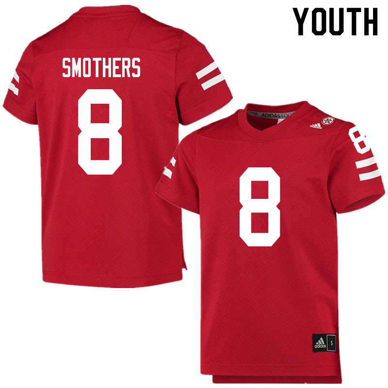 Youth #8 Logan Smothers Nebraska Cornhuskers College Football Jerseys Sale-Scarlet