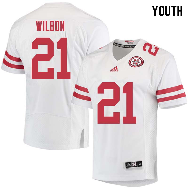 Youth #21 Mikale Wilbon Nebraska Cornhuskers College Football Jerseys Sale-White
