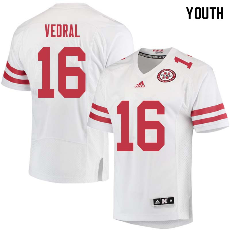 Youth #16 Noah Vedral Nebraska Cornhuskers College Football Jerseys Sale-White