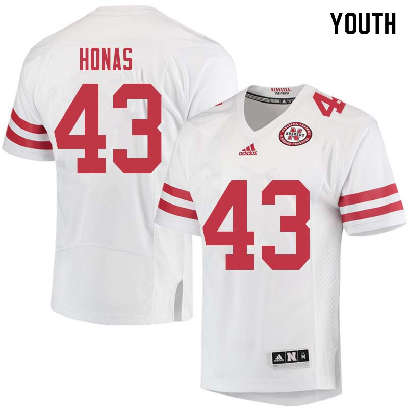 Youth #43 Todd Honas Nebraska Cornhuskers College Football Jerseys Sale-White