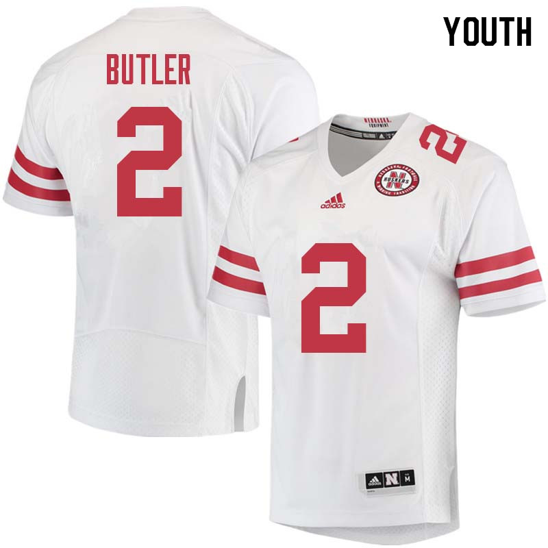 Youth #2 Tony Butler Nebraska Cornhuskers College Football Jerseys Sale-White
