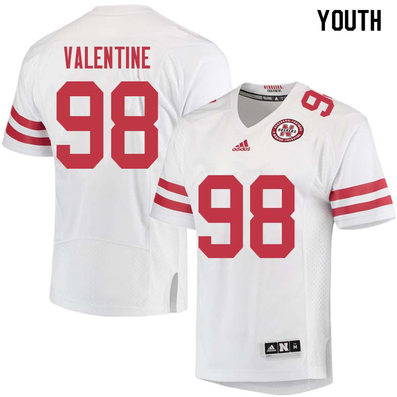 Youth #98 Vincent Valentine Nebraska Cornhuskers College Football Jerseys Sale-White